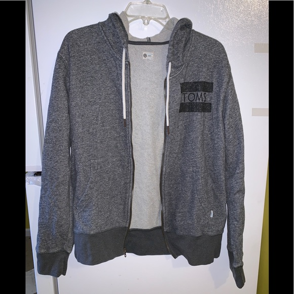 Toms Jackets & Blazers - Toms Sweater Hoodie Gray Drawstrings